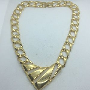 Vintage Gold Tone Chain V Necklace Statement